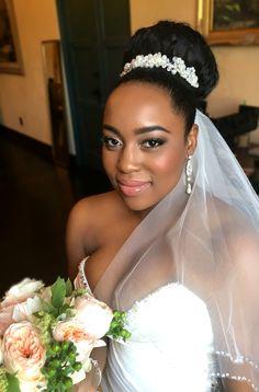 Beautiful Bride Makeup by Bridal Hair Updo With Veil, Updo With Headband, Bride Headband, Bridal Hair And Makeup, Bride Makeup, Headbands, Braided Hairstyles For Black Women Cornrows, High Bun Hairstyles, Black Girls Hairstyles