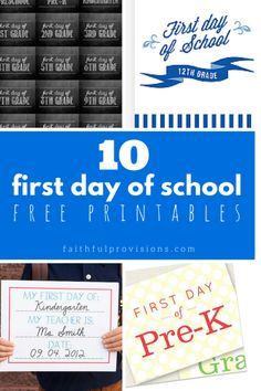 First Day of School Printables - Pick from 10 different style printable for your first day of school pictures.