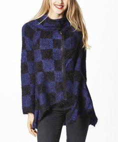 Simply Couture Blue Checkerboard Zip-Up Hi-Low Sweater | zulily . $36.99 $119.00 size: size chart S M L XL Product Description:  A fashionable cowl neckline and hi-low hem lend eye-catching detail to this supersoft sweater styled with a checkerboard print and crafted from plush fabric.      70% acrylic / 30% polyester     Hand wash     Imported