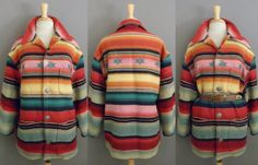 Vintage 80s Rare Ralph Lauren Navajo Indian Blanket Serape Cotton Jacket Coat by GGMMVintage, etsy