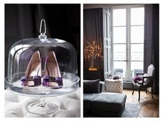 shoes on cake stands! I need a whole house just for clothing display...oh, i should just own a design house instead; J'adore Jordan. lol