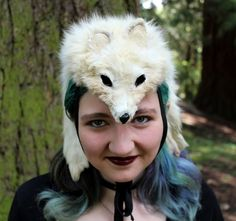 Fox headdress - full hide vintage white Arctic fox headdress with paws totem dance costume for shamanic ritual and dance