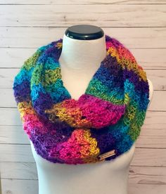 A personal favorite from my Etsy shop https://www.etsy.com/listing/542542282/rainbow-infinity-scarf-crochet-scarf
