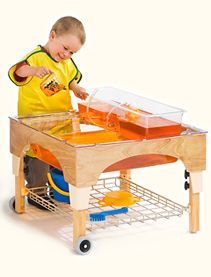 Clean and unassuming sand and water table from community playthings-- for indoor or outdoor use.