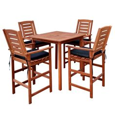 Sturdy hardwood makes this five-piece outdoor set a beautiful and stylish design for your space. This set comes with four chairs and one table, all at bar height.