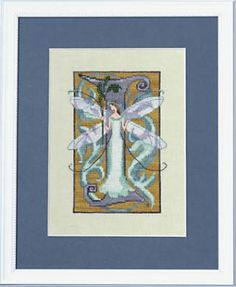 """From Nora Corbett's Letters From Nora Series is this cross stitch pattern titled """"I"""" that is stitched with Crescent Colours (Cloud, Cobbled ..."""