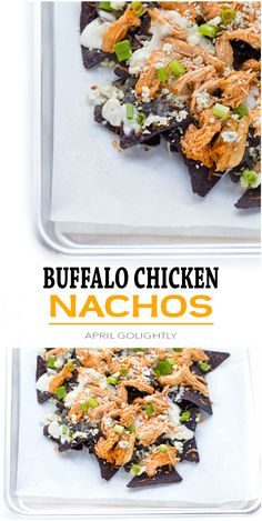 Buffalo Chicken Nachos made in advance with crockpot buffalo chicken and Naturally Fresh® Bleu Cheese Dressing and crumbled blue cheese #NaturallyFreshRecipe AD