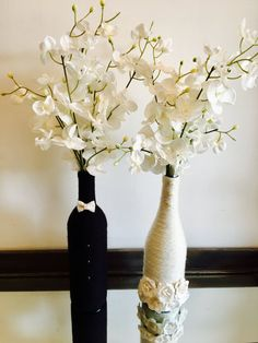Bride and Groom Wine Bottles Wedding Centerpiece by WanDecor