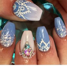 Blue mandala nail art designs