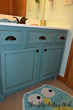 Builders Grade Teal Bathroom Vanity and Faucet Upgrade for only $60 ~ Thrifty Artsy Girl