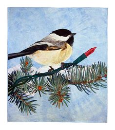 Christmas Chickadee by David M Taylor of Steamboat Springs, CO. 1st Place Pictorial Wall Quilts, 2010 Lancaster AQS Quilt Show.