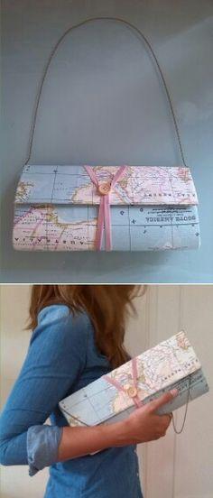 Bolso de cartón y tela mapa-mundi