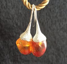 Baltic Amber Flower Earrings