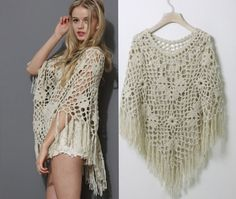 Aliexpress.com : Buy New2014summer/fall women floral crochet fringe cape knit tassel shrug hollow out bohemian beach/ bikini cover up swimwear poncho from Reliable Shrugs suppliers on Semon store