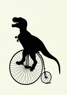 Silhouette Dinosaur TRex Unicycle Bicycle Bike by emporiumshop
