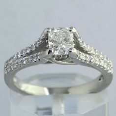 1.06 ct Radiant Cut Diamond Ring With Accent Diamonds #SolitairewithAccents