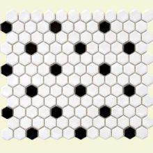 "Metro - 1"" Hexagon Porcelain Mosaic Tile in White with Black Dott"