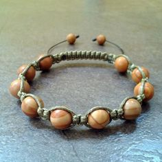 Men's stone bead bracelet Jasper shamballa jewelry gift bangle accessories Men #Handmade #Shamballa