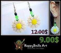 Polymer Clay Dangle Earrings White Pearl Daisy Handmade