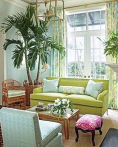 Lime Green Decor... and a Palm Tree in the Living Room: http://www.completely-coastal.com/2016/05/lime-green-decor.html