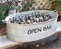 Your place to buy and sell all things handmade Summer SALE- Open Bar French Vintage Zinc Wine Tub, Galvanized Metal, Personalized Vintage Tub, Vintage Wine, French Vintage, Decoration Cocktail, Beverage Tub, I Do Bbq, Arrow Design, Galvanized Metal, Rare Antique