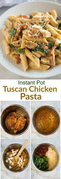 Instant Pot Tuscan Chicken Pasta   Posted By: DebbieNet.com