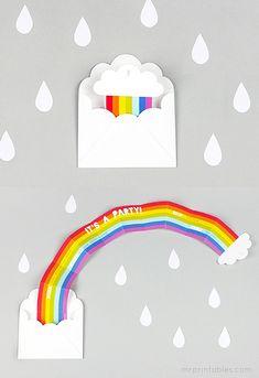 Surprise Rainbow Party Invitation - Mr Printables