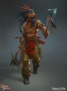 Early in 2016 we had the privilege to help Grimlords games out with some concept art for their table top game called Village Attacks. Produced at Opus Artz in collaboration with Grimlords Games. Native American Pictures, Native American Artwork, American Indian Art, Native American Warrior, Native American History, Character Concept, Character Art, Concept Art, Arte Peculiar