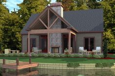 Lake Front Plan: 1,375 Square Feet, 2 Bedrooms, 2 Bathrooms - 1070-00129.  Cool outdoor fireplace.