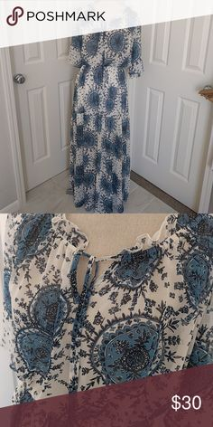 Target boho maxi dress blue and white Size large, no tags Target Dresses Maxi