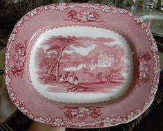 Jenny Lind Red Transferware Platter