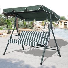 swing metal outdoor conopy patio garden furniture bed park side bench 3 seater 3 seater patio swing chair seat green  u0026 white canopy garden      rh   pinterest