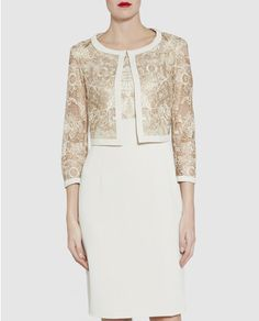 Buy Gina Bacconi Embroidered Bodice Dress And Jacket, Gold from our Women's Dresses range at John Lewis & Partners. Race Day Outfits, Outfits 2016, Mother Of Groom Dresses, Mothers Dresses, Bride Dresses, Mesh Dress, Lace Dress, Crepe Dress, Groom Outfit