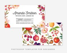 Love how colourful and beautiful this business card is!! Simply gorgeous. Foodie & Floral Business Card Template | Business Card Template | Business Card Design | Digital Photoshop Template | #ad