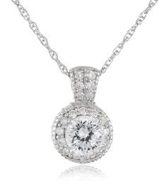 """Platinum Plated Sterling Silver """"100 Facets Collection"""" Round Cubic Zirconia Antique-Style Pendant Necklace Amazon Curated Collection,http://www.amazon.com/dp/B001FWZ0AM/ref=cm_sw_r_pi_dp_J07Hsb02G0PMF6Q0"""
