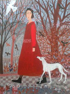 woman dog and bird by deenickersonart2012, via Flickr