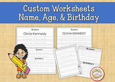Custom Name Tracing Practice, Learn to Write Name, Practice Writing, Child's Name, Personalized Worksheets, Custom Worksheets Name Tracing Worksheets, Writing Worksheets, Worksheets For Kids, Name Practice, Handwriting Practice, Learning To Write, Learning Resources, Teaching Ideas, Kindergarten Blogs
