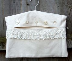 Buttons and Lace Clothes Pin Peg Bag by FromRagsToBags on Etsy, $16.00