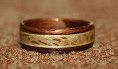 Rosewood Ring with inlays of Live Oak and Sugar Maple from Touch Wood Rings.