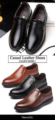 8f025ea2e86  48%off Men Pure Color Leather Slip Resistant Slip On Casual Shoes