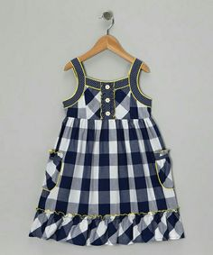 With polka dot trim and a pretty plaid print, this breezy silhouette blends nostalgic charm with girly style. A soft cotton blend means this sleeveless wonder will be as much of a pleasure to wear as it is to behold. Little Girl Outfits, Little Girl Dresses, Kids Outfits, Girls Dresses, Toddler Dress, Baby Dress, Toddler Fashion, Kids Fashion, Kids Frocks Design