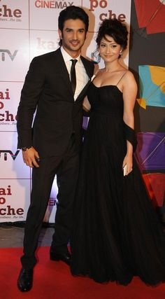 "Sushant Singh Rajput and Ankita Lokhande attend the premiere of Hindi film ""Kai Po Che""."