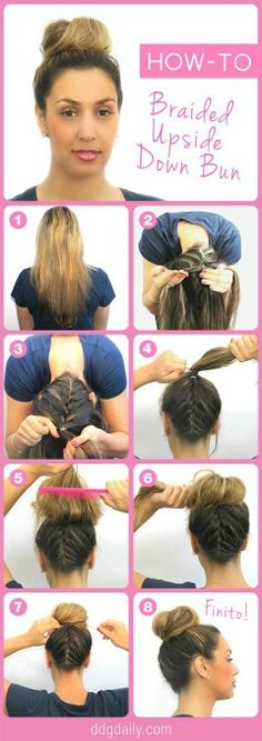 Upside down braid bun...awesome look.