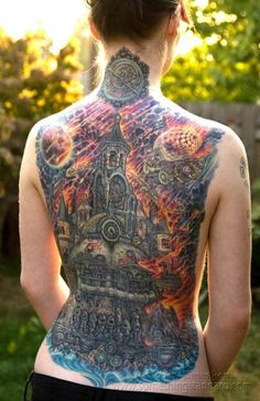 Colorful back piece from James Kern. #inked #inkedmag #tattoo #colorful #back #Piece #idea