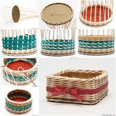 How to DIY Weave Cardboard Bottom Rattan Basket (Video) Korb Ideen Newspaper Basket, Newspaper Crafts, Diy Home Crafts, Creative Crafts, Paper Basket Weaving, Pot A Crayon, Diy For Men, Rattan Basket, Wicker