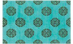 Turquoise Mandala carpet design from madelineweinrib.com