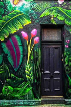 Black jungle green front door home lush painted tropical dark Melbourne, Victoria, Australia Mural Art, Wall Art, Painted Wall Murals, 3d Wall Murals, Wall Decor, Green Front Doors, Interior Paint Colors, Interior Painting, Purple Interior