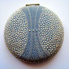 Unusual Art Deco Blue Cream Raised Decoration Sea Urchin Celluloid Compact |
