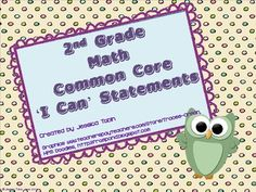 2nd Grade Math I Can Statements for Common Core