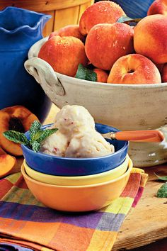 Summertime Peach Ice Cream - Homemade Ice-Cream Recipes - Southernliving. Recipe: Summertime Peach Ice Cream  Your family will ask for this chilly treat over and over again. Best of all, the six-ingredient mixture requires no cooking, just stirring.